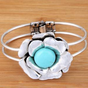 Carved Flower Blue Turquoi..