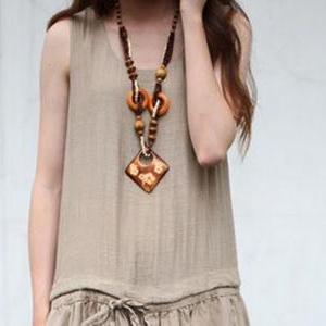 Bohemian Style Wooden Necklace