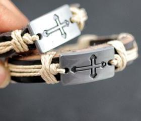 2 Unisex Cross Leather Bracelets