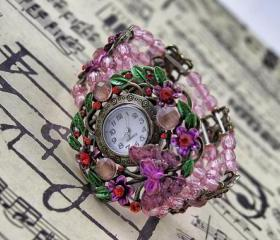 Flower Beaded Watch