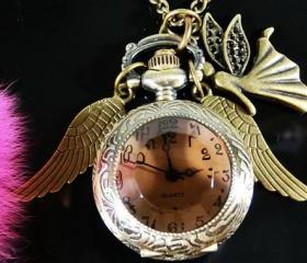 Angel with Wings Steampunk Pocket Watch Necklace